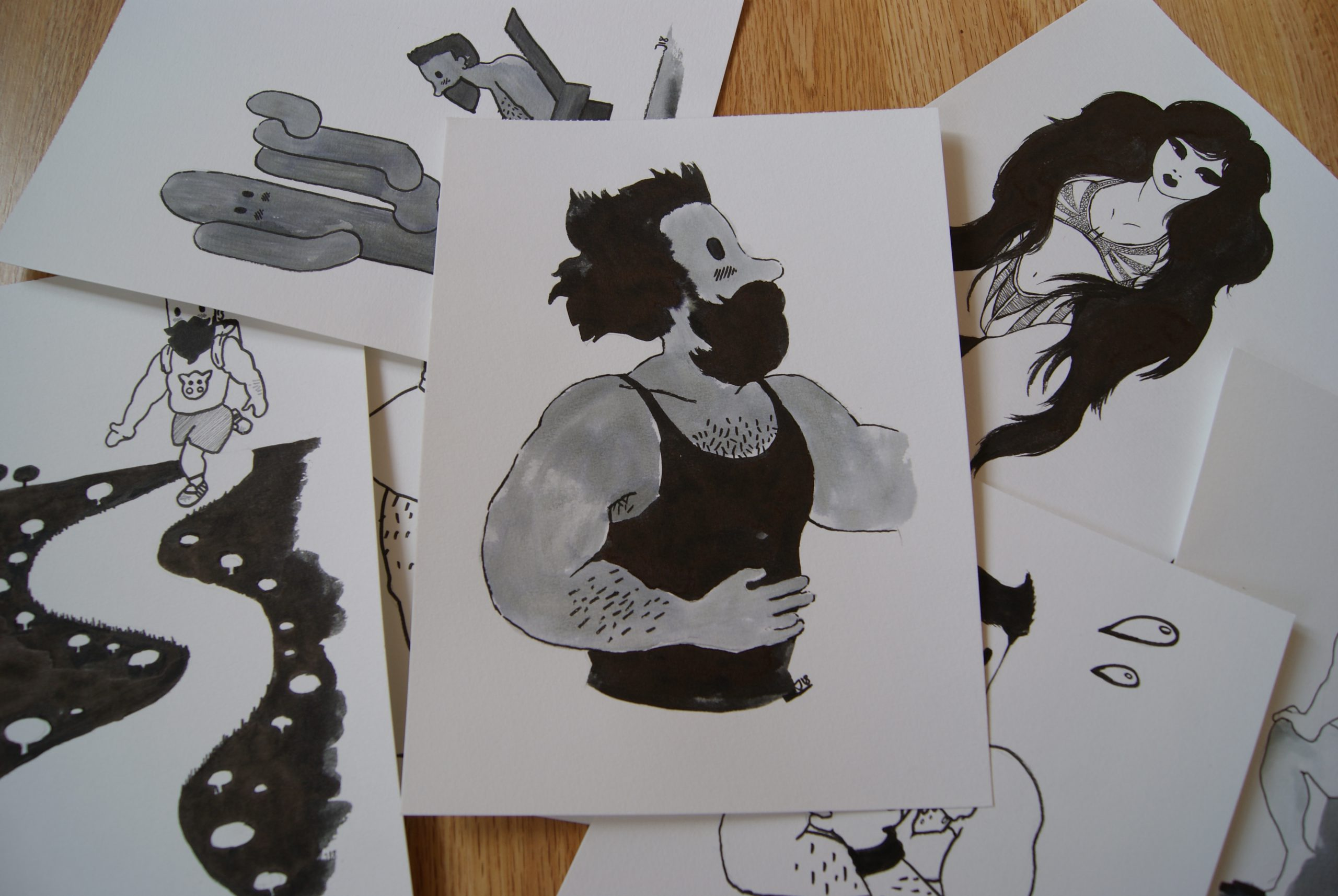 Bocetos en papel para Inktober