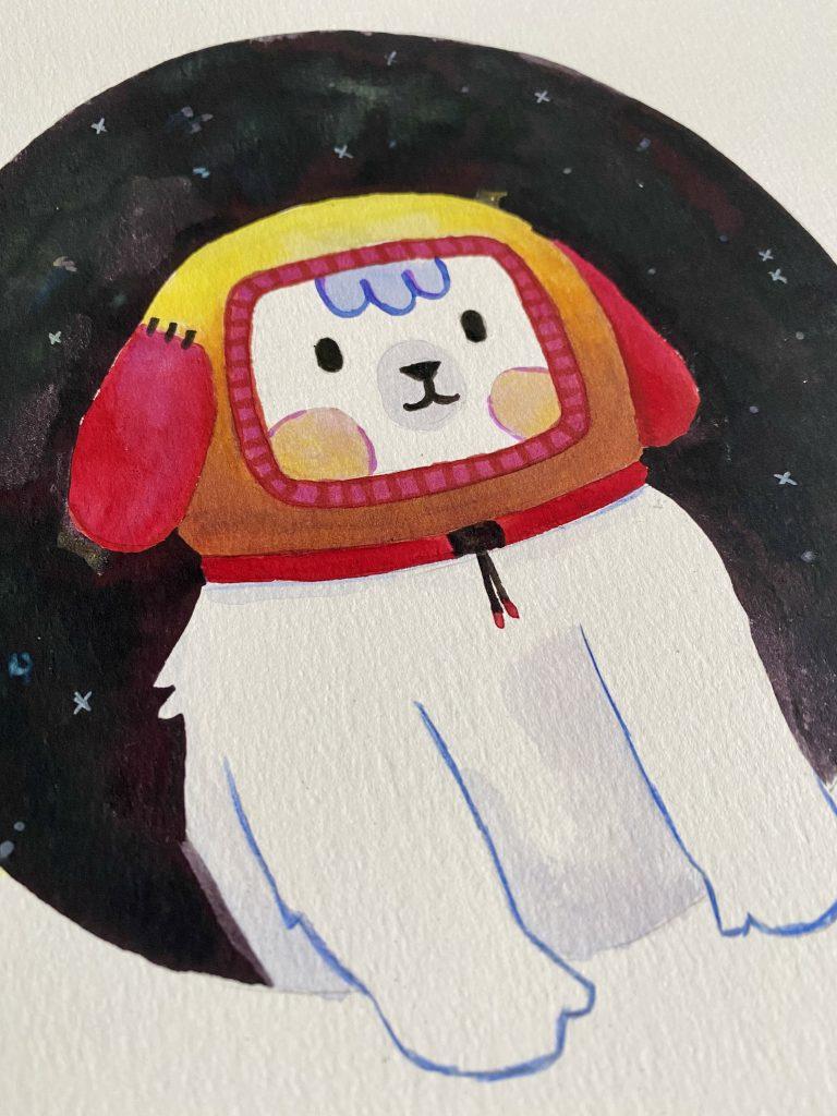Dibujo de perro espacial