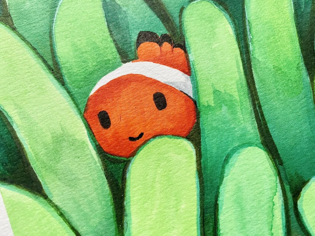 Dibujo de pez payaso al detalle