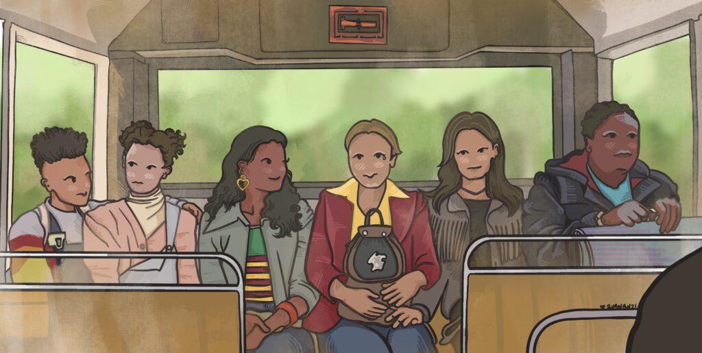 """Dibujo de """"Sex Education"""", basado en la escena del autobús."""